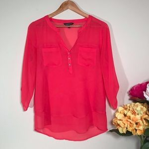Express Hot Pink Blouse Size Small Sheer Shirtail